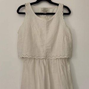Cream Linen Cutout Eyelet Loft Dress